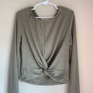 Green Crop Top With Long Sleeves